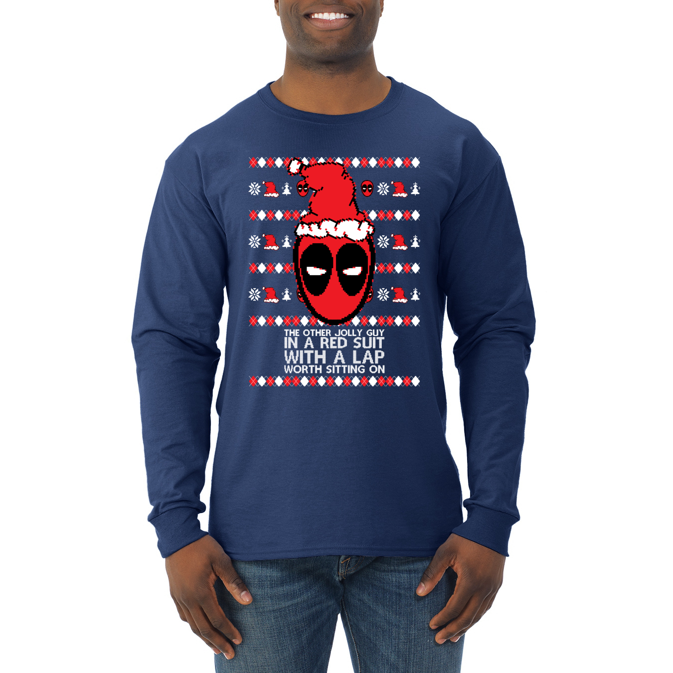 Mens Funny Deadpool Christmas T-Shirt JOLLY RED SUIT