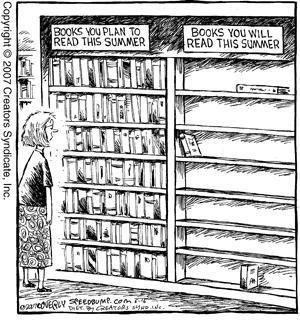 Il Lettore Forte parla parla ma andrà bene se in ferie leggerà la metà dei libri pianificati per le vacanze.