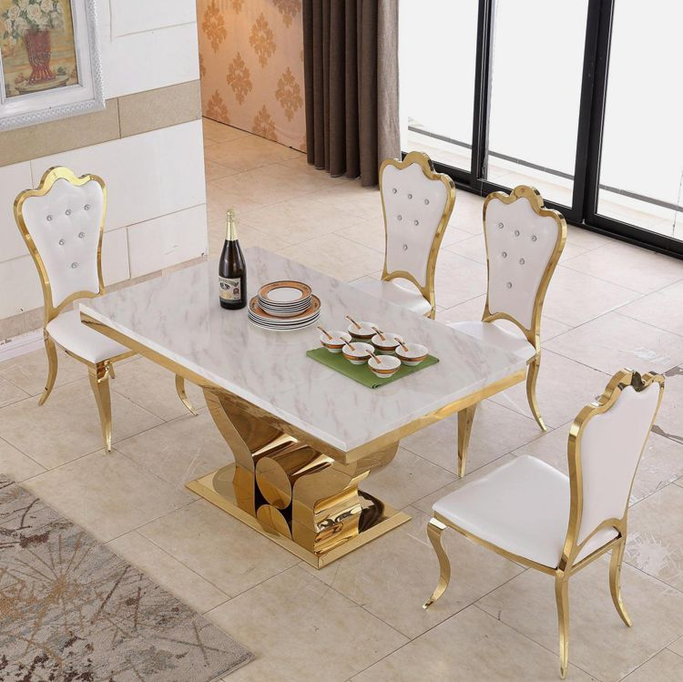Hot Item Modern Luxury Gold Stainless Steel 6 Seater Dining Table