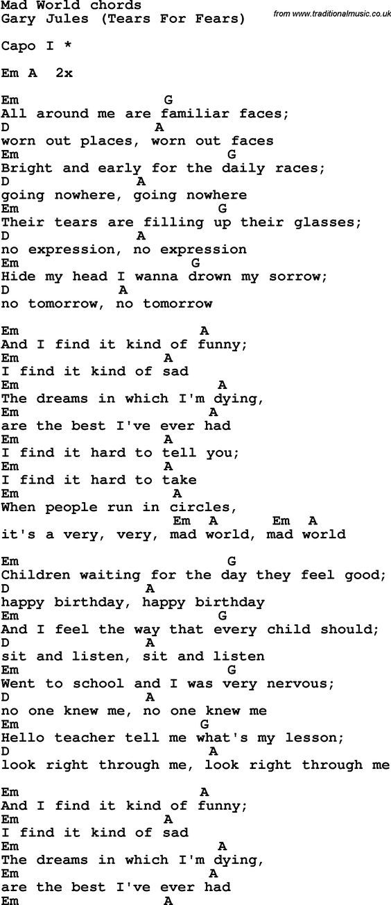 Song lyrics with guitar chords for Mad World | Guitar | Pinterest ...