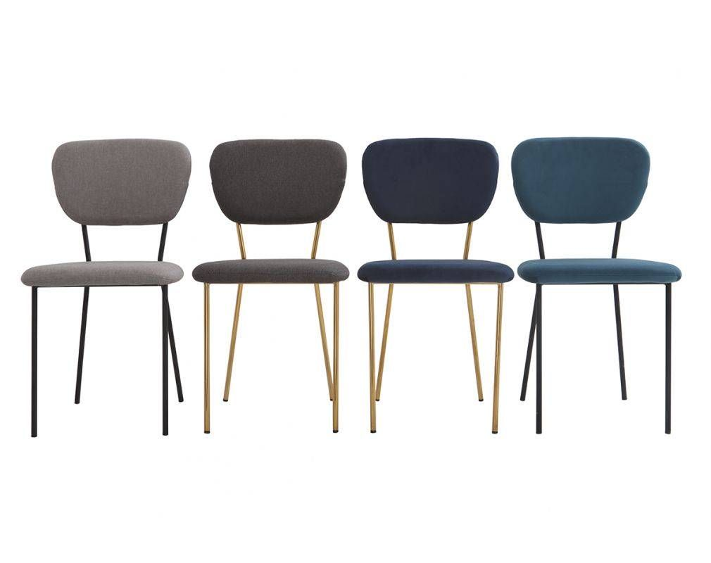 Chaises Design Velours Gris Fonce Et Metal Dore Lot De 2 Lepidus Miliboo Chaise Design Chaise Tissu Gris