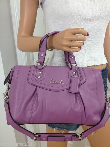 319a3ce96a129 ... germany coach ashley medium purple leather satchel shoulder bag purse  a3798 c3a80 ...