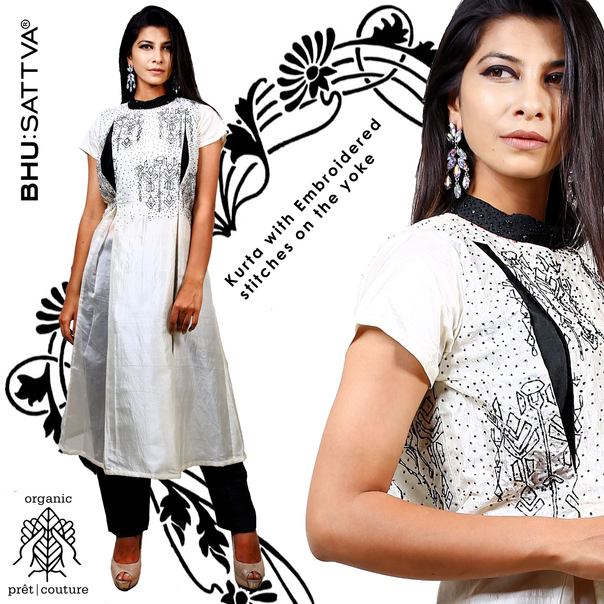 Embrace this soothing white classy dress with sequins all over from the house of #Bhusattva #Organic #Pret #Couture #WhiteDress #Sequins #HandEmbroidered #SkinFriendly #BreatheEasy #ReflectOrganic #RevealYourself #iWearBhusattva #BelieveWhatYouWear #TrustNature #MysticalNature #CloseToNature #OrganicIdeology #OrganicCollection #NaturalDyes #EcoFashion #OrganicFashion #SustainableFashion #GoOrganic #WearOrganic #DesignerLabel #DesignerWear #EcoFriendly