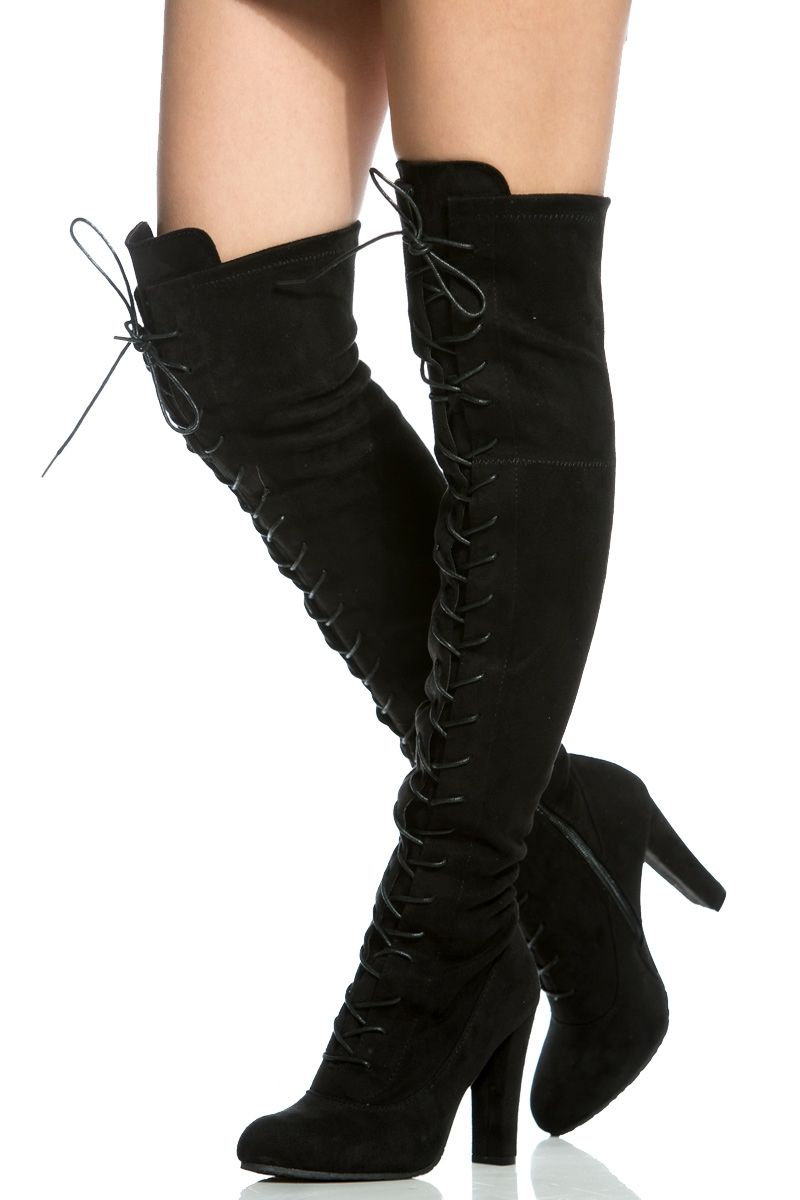 56cf83729a Black Faux Suede Chunky Lace Up Thigh High Boots @ Cicihot Boots Catalog: women's winter boots,leather thigh high boots,black platform knee high boots,over  ...