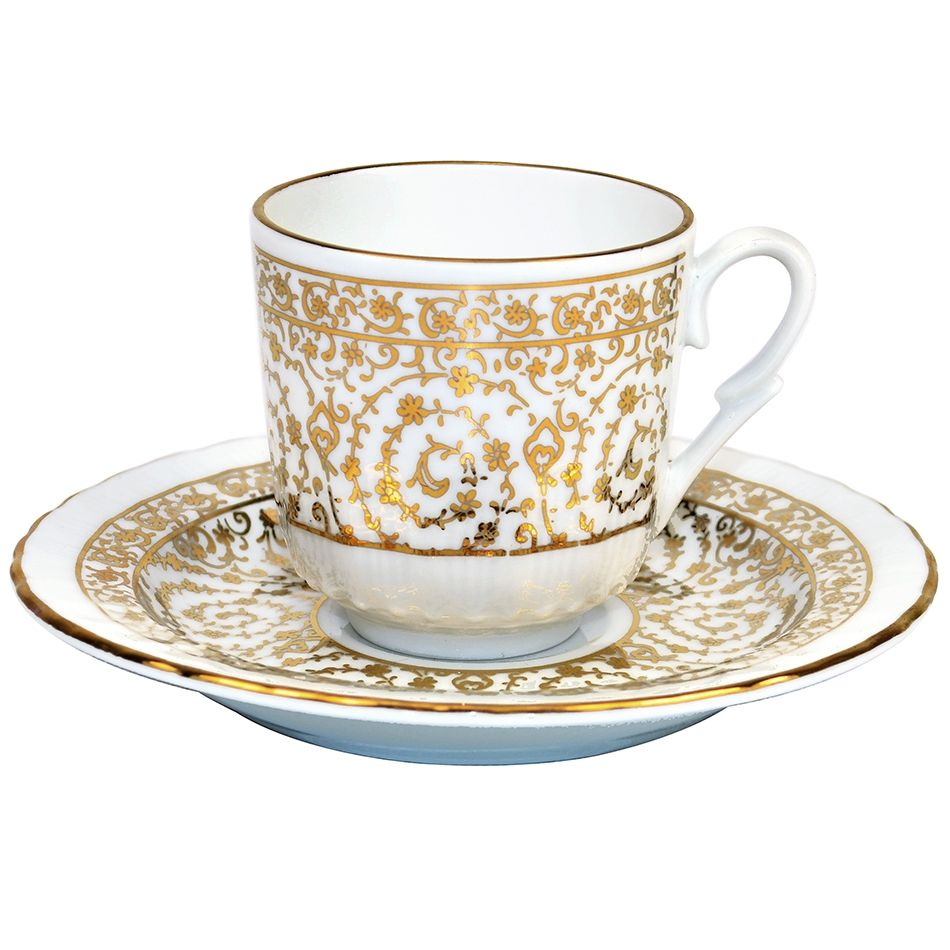 Turkish Coffee Cup With Saucer Porcelain Gold