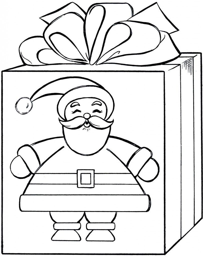 Santa Gift Coloring Page - Cute | Coloring Pages | Pinterest | Santa ...