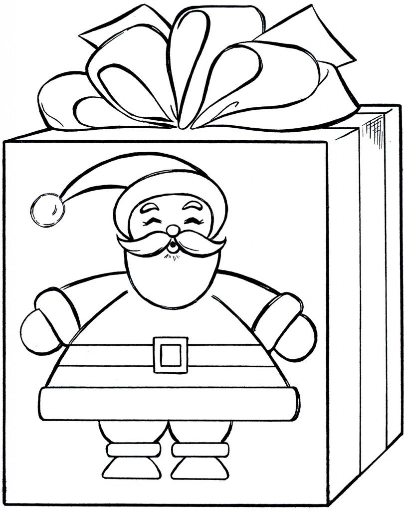 Santa Gift Coloring Page Cute Christmas Present Coloring