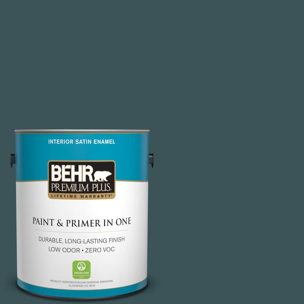 #PPU12 01 Abysse Satin Enamel Zero VOC Interior Paint And Primer In  One 730001   The Home Depot
