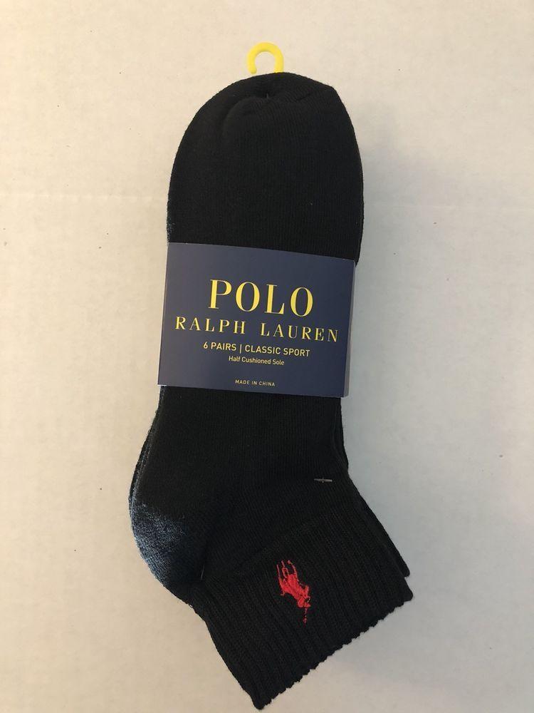 Sport Half 6 Black Cushioned Pack Polo Lauren Ralph Pair Classic sQdrCthx