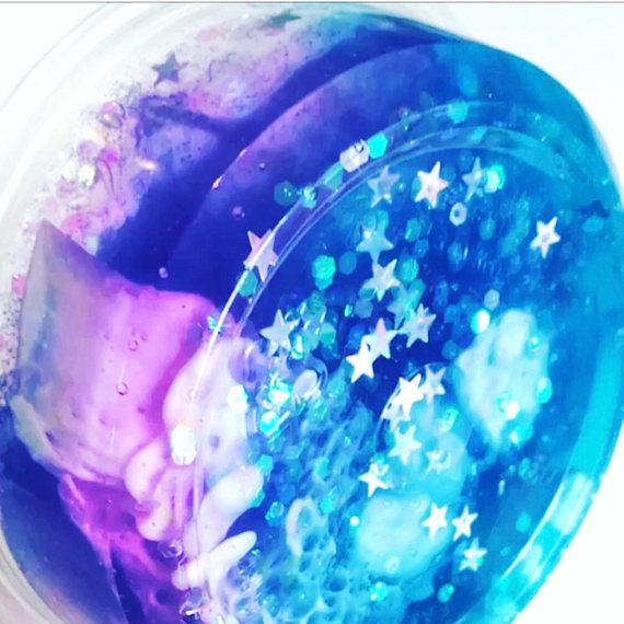 Slime galaxy. Glitter clear stretchy sensory