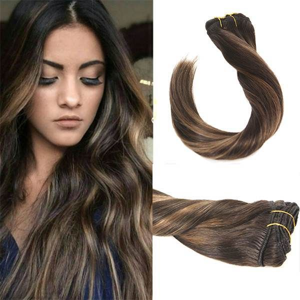 Balayage Brown Clip In Remy Human Hair Extensions 226 Human
