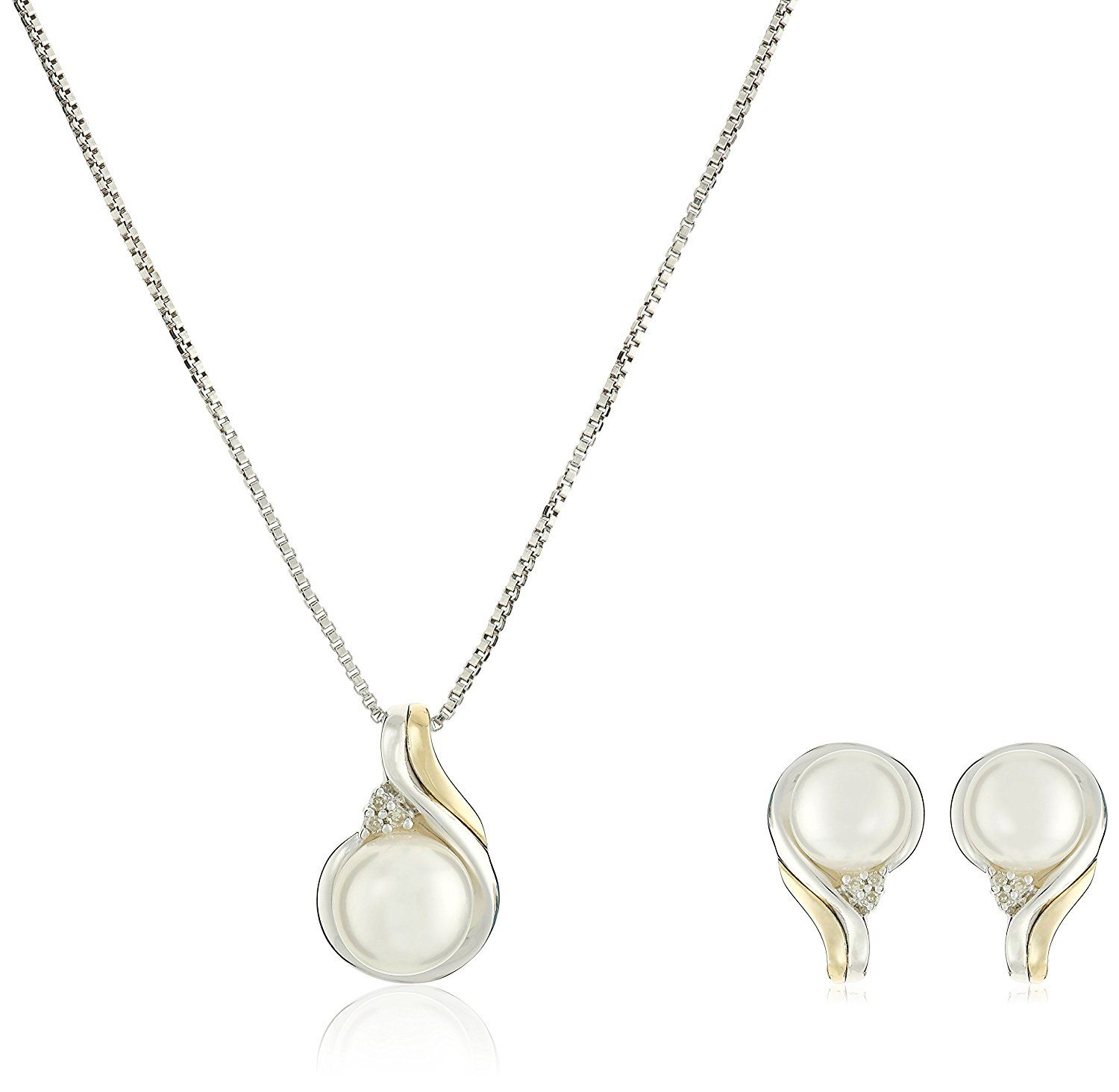 Sterling silver k yellow gold freshwater cultured pearl and
