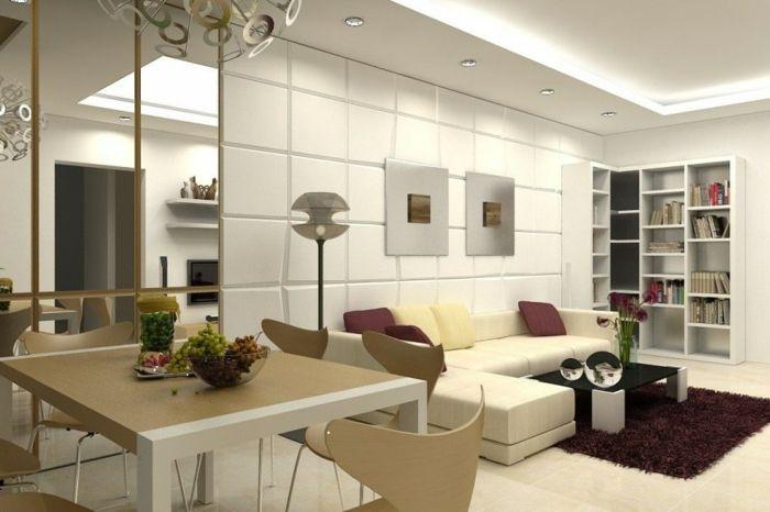 kleines wohnzimmer einrichten wandregale bücherregale - sofa kleines wohnzimmer