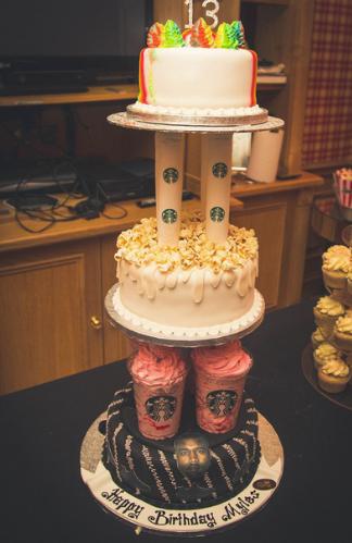 #birthdaycake #tower #starbucks #kanyewest #cakeideas #sharkyandgeorge