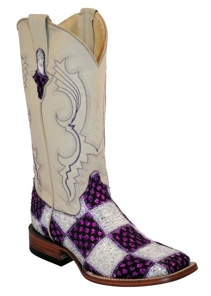 0c1a6737afb Ferrini Western Boots Womens Patchwork Purple White Square Toe 81393 48
