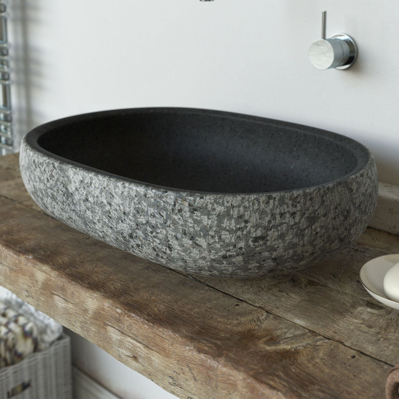 Bathroom sink stone - Lava Stone Vessel Wash Basin Worked Upon By Hand With Rock Face Effect Sink