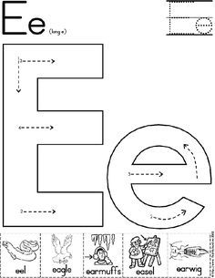 alphabet letter e worksheet standard block font preschool printable activity literacy. Black Bedroom Furniture Sets. Home Design Ideas