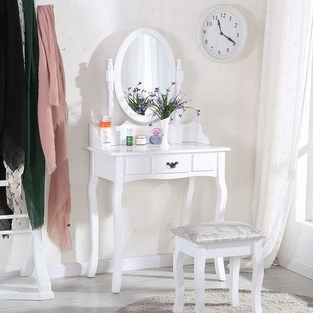 White Dressing Table Makeup Desk With Stool And Round Mirror