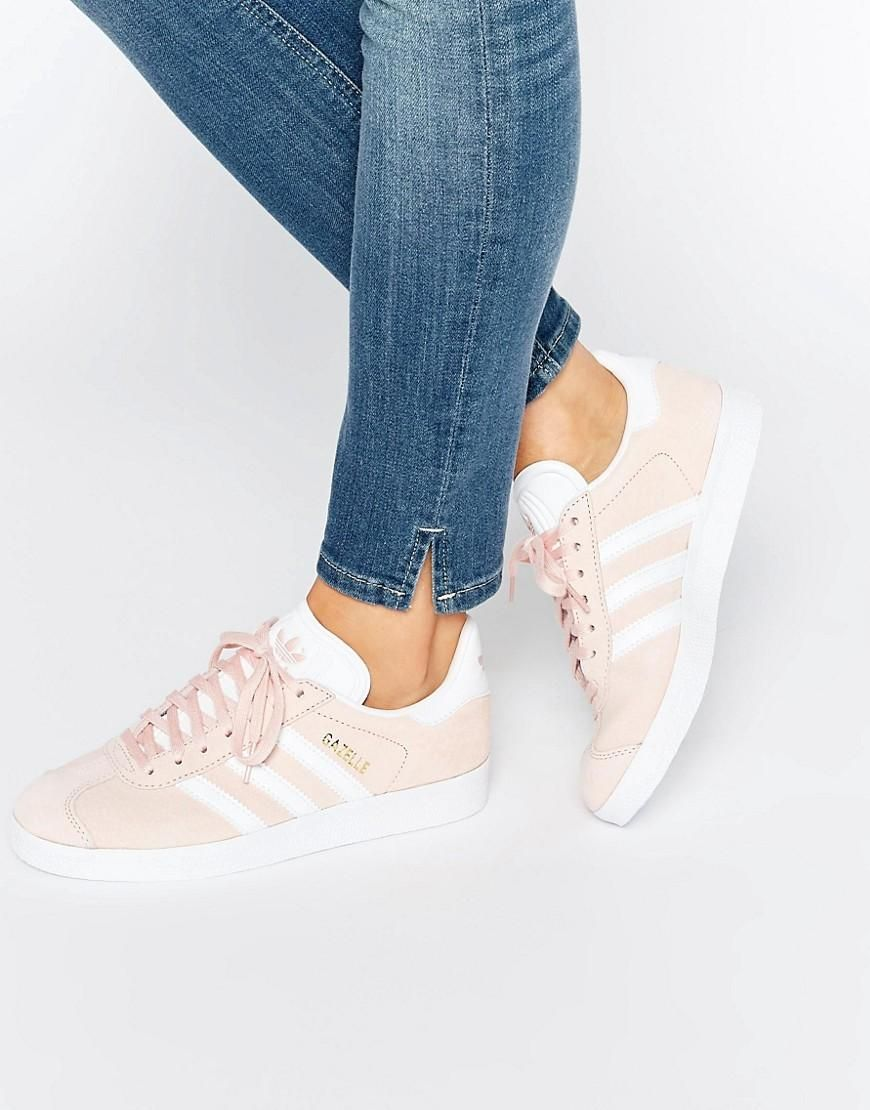 huge discount b5474 4184e Pink  adidas Originals Pink Suede Gazelle Sneakers at ASOS