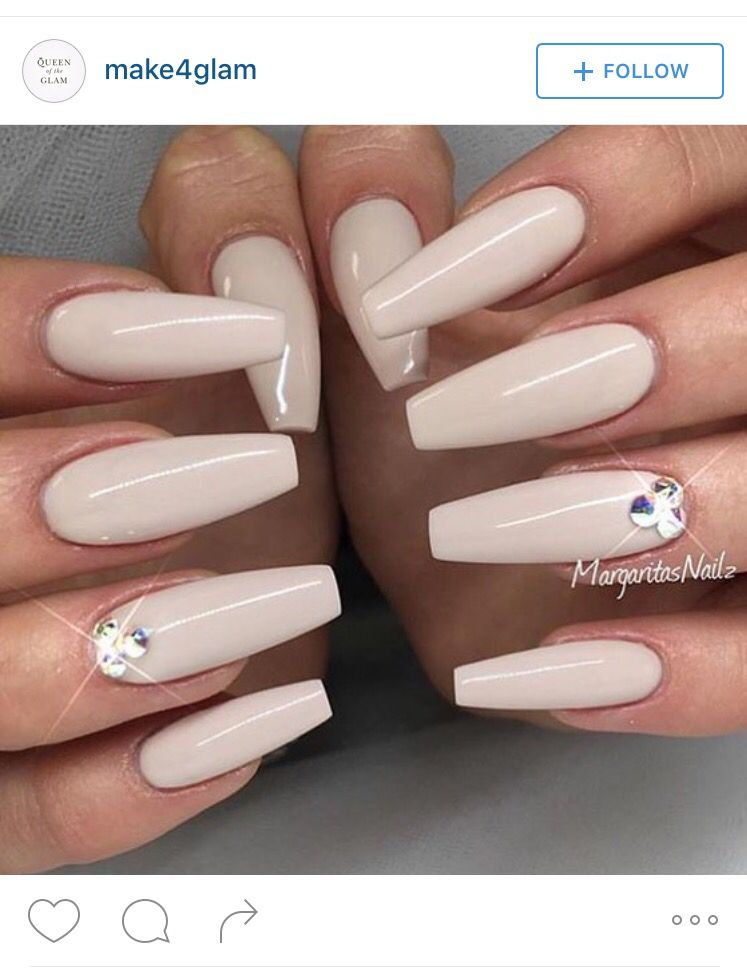 Diamond Studded Cream Nails Coffin Shape Nails Coffin Nails Designs Cream Nails