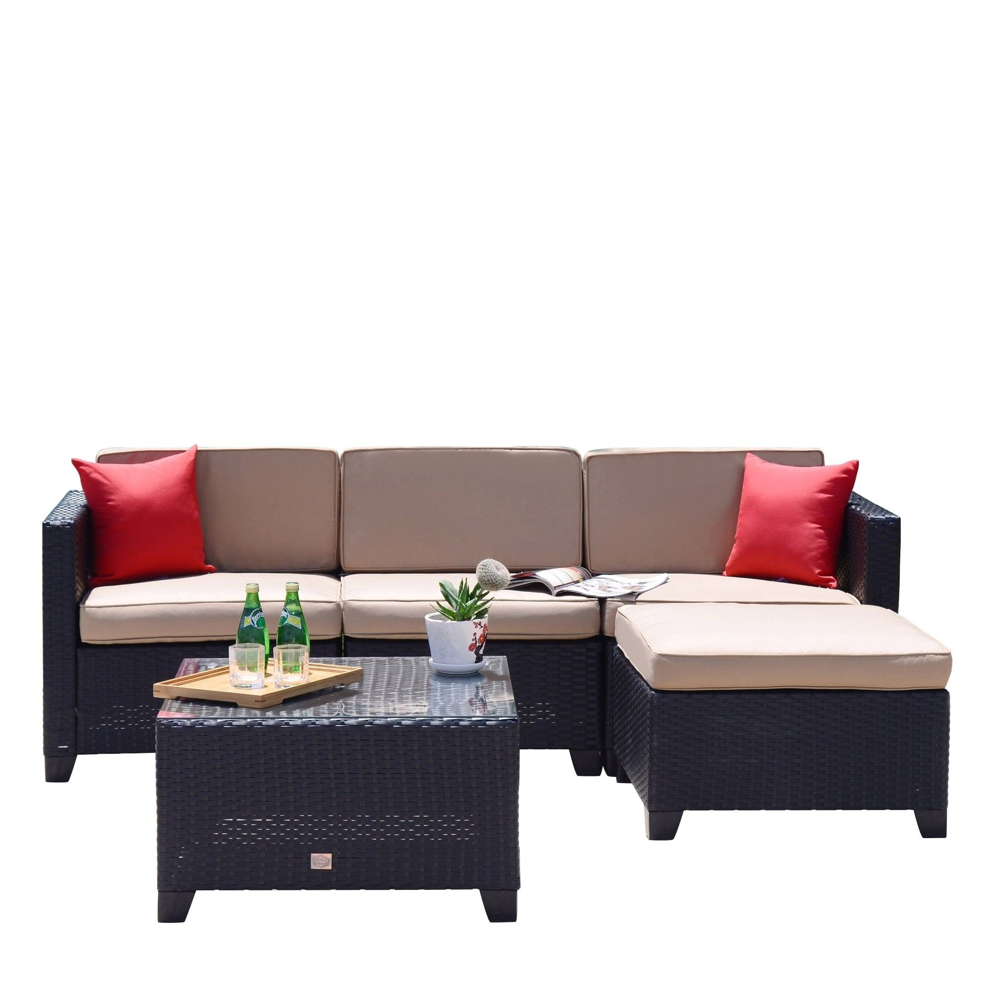 Astounding 5 Pc Rattan Sofa Set Cushioned Sectional Outdoor Garden Creativecarmelina Interior Chair Design Creativecarmelinacom