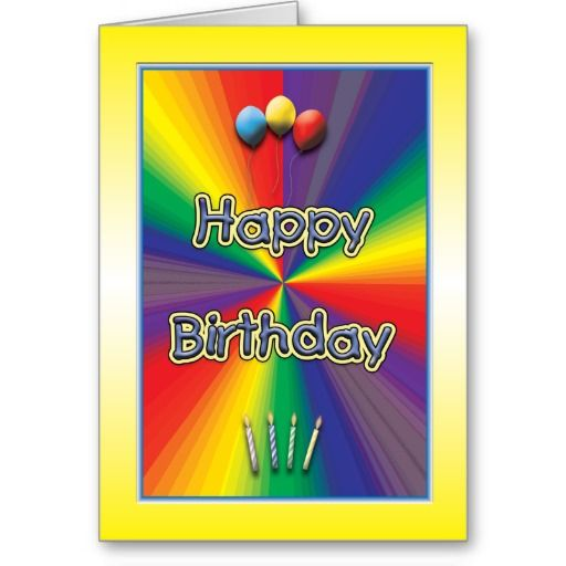 Kids Birthday Card Template Rainbow Design  Birthday Card