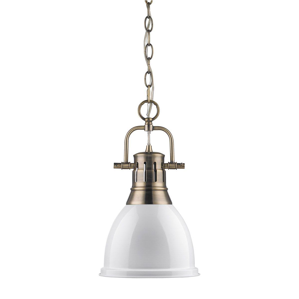 Golden Lighting 3602 S Ab Wh Duncan 1 Light 9 Inch Aged Br Mini Pendant Ceiling In White