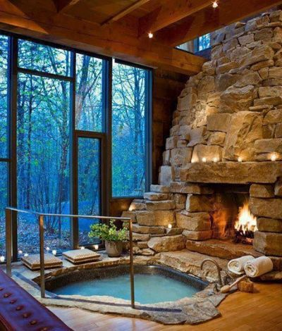 Superieur Rock Bathtub With Fireplace. This Is Amazing. #Bathtubs