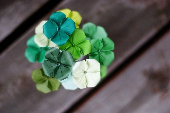 Lucky You - Mini bouquet of 12 origami 4 leaf clovers ... - photo#3