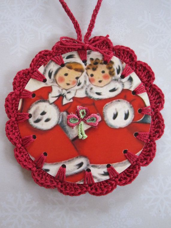 Christmas Twins  Crochet Ornament / Gift Tag by ShoeFlower on Etsy