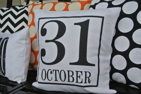 SALE Halloween Pillow / 31 October Pillow Cover/ by polkadotpears, $21.00