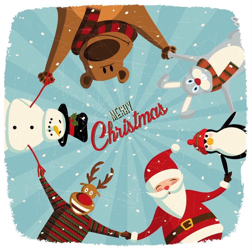 [フリーイラスト素材] イラスト, クリスマス, 12月, 行事 / イベント, 冬, 円陣, 手をつなぐ