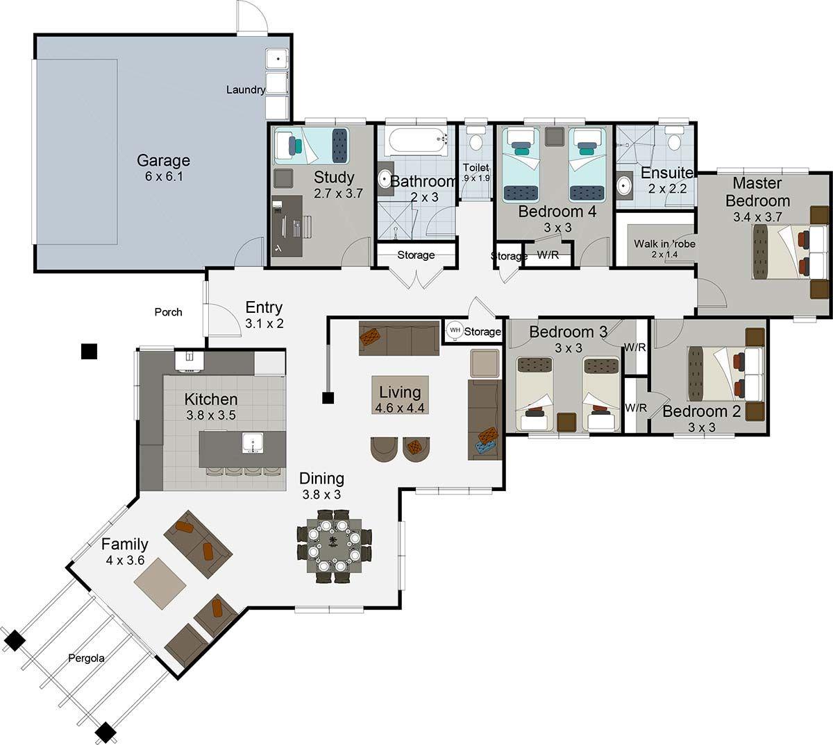 Duet 4 bedroom house plan landmark homes builders nz