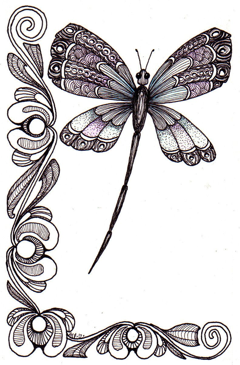 Esquina con libélula | caligrafia | Pinterest | Libélulas, Esquina y ...