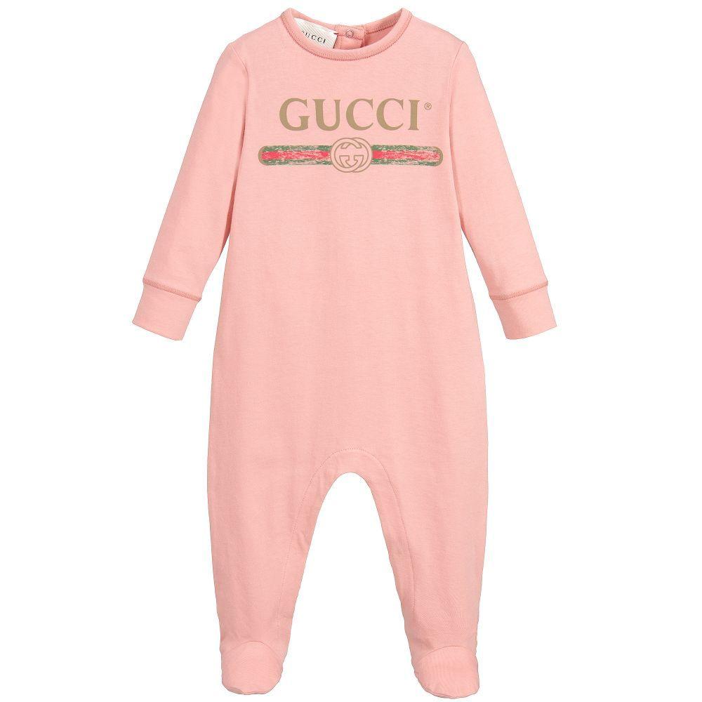 eb3910171d2 Gucci - Pink Cotton Logo Babygrow