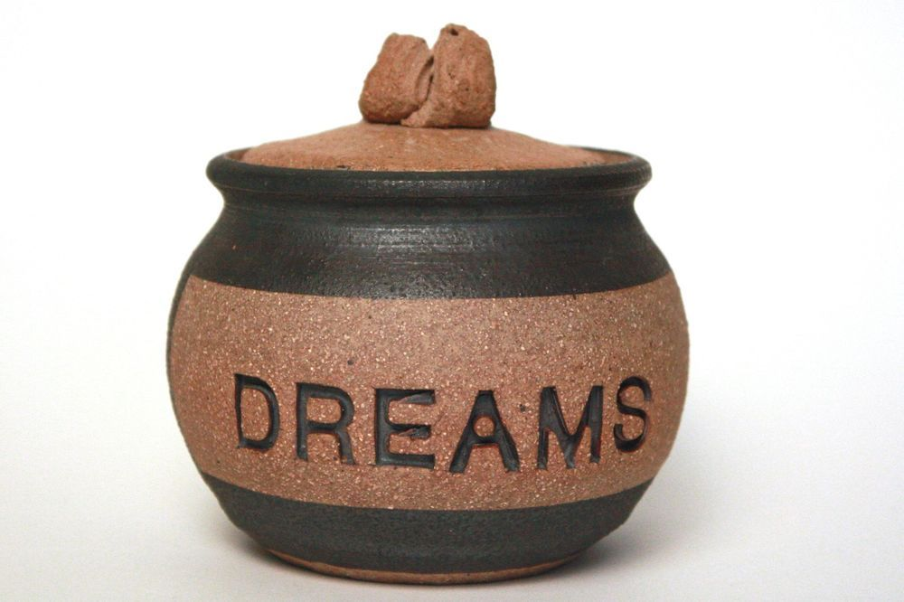 Stoneware Pottery Jar with Lid - Dreams