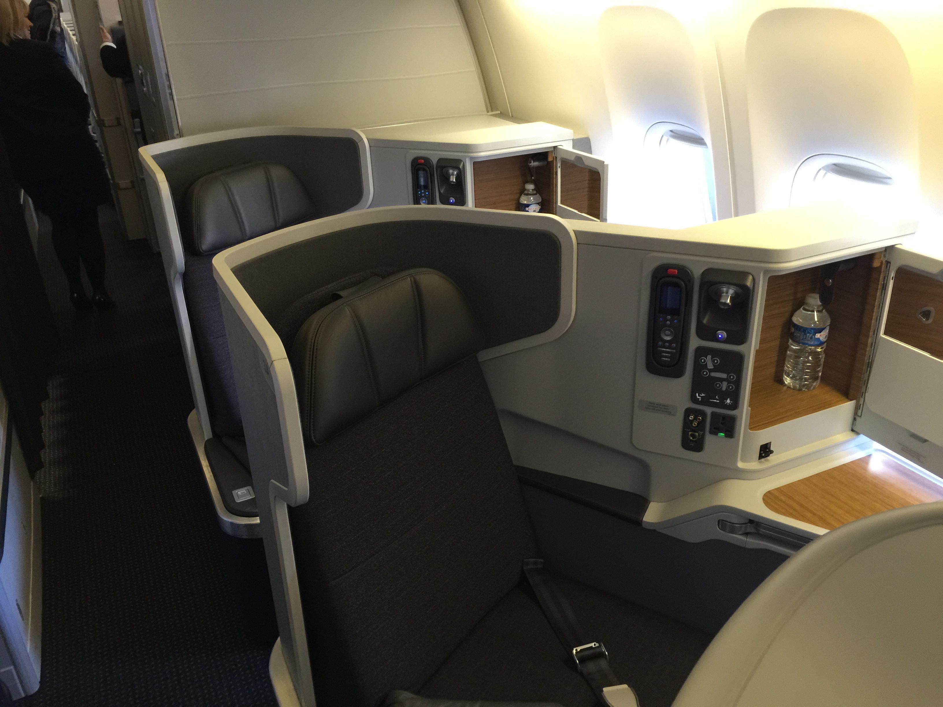 You can't sit in first or business class unless you pay a lot of money. - http://theforwardcabin.com/2015/01/02/cant-sit-first-business-class-unless-pay-lot-money/