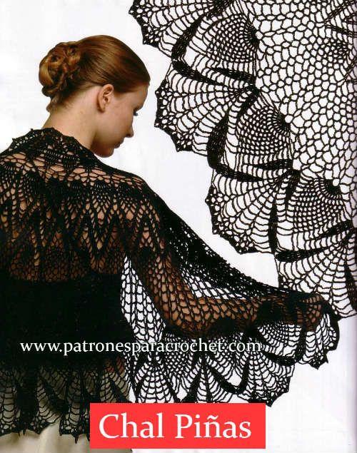 3 Patrones de Chales para tejer con Crochet | Patrones de chal, Chal ...