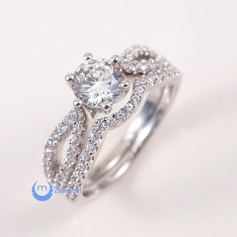 75ct Engagement Wedding Set 2 RINGS Signity CZ Rhodium Over Sterling Silver
