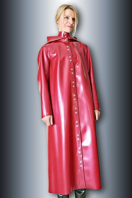 Red Rubber Hooded Raincoat My Wife Has One Like This Very