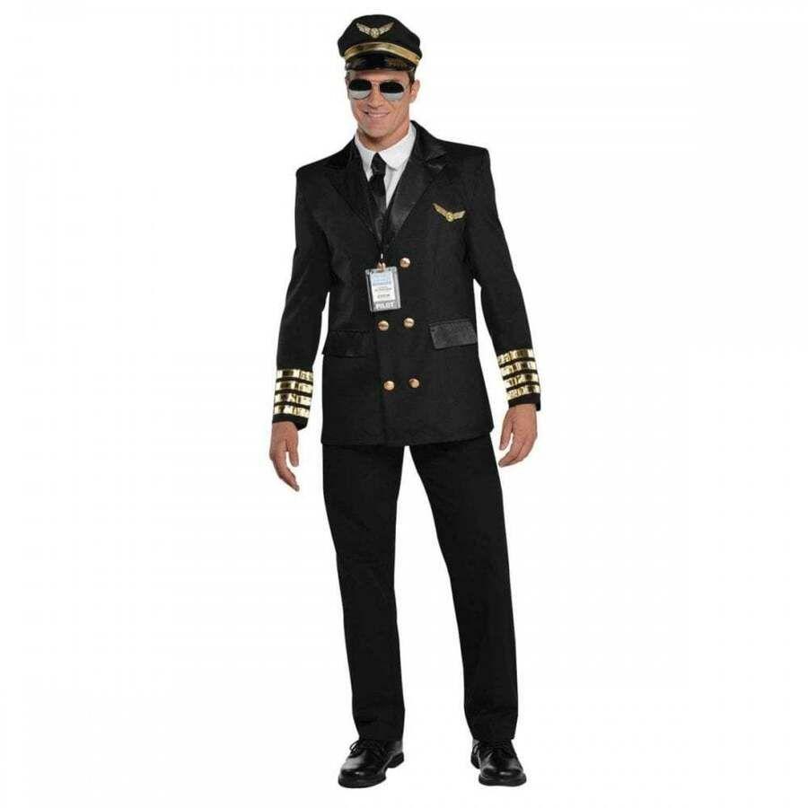 Mens Pilot Costume Captain Wingman Uniform Aviator 60s 70 S Fancy Dress Outfit Pilot Costume Pilot Fancy Dress Party City Costumes