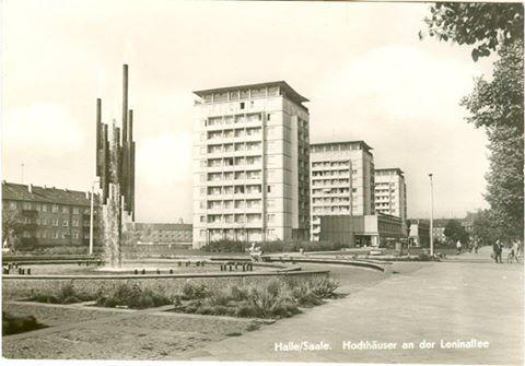 Hochhäuser an der damaligen Lenin-Allee in Halle/Saale