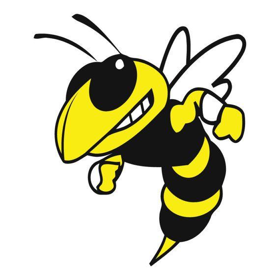 yellow jacket bee vinyl decal car window bumper sticker yeti rv rh pinterest com Wellness Clip Art Yellow Jacket Mascot Clip Art