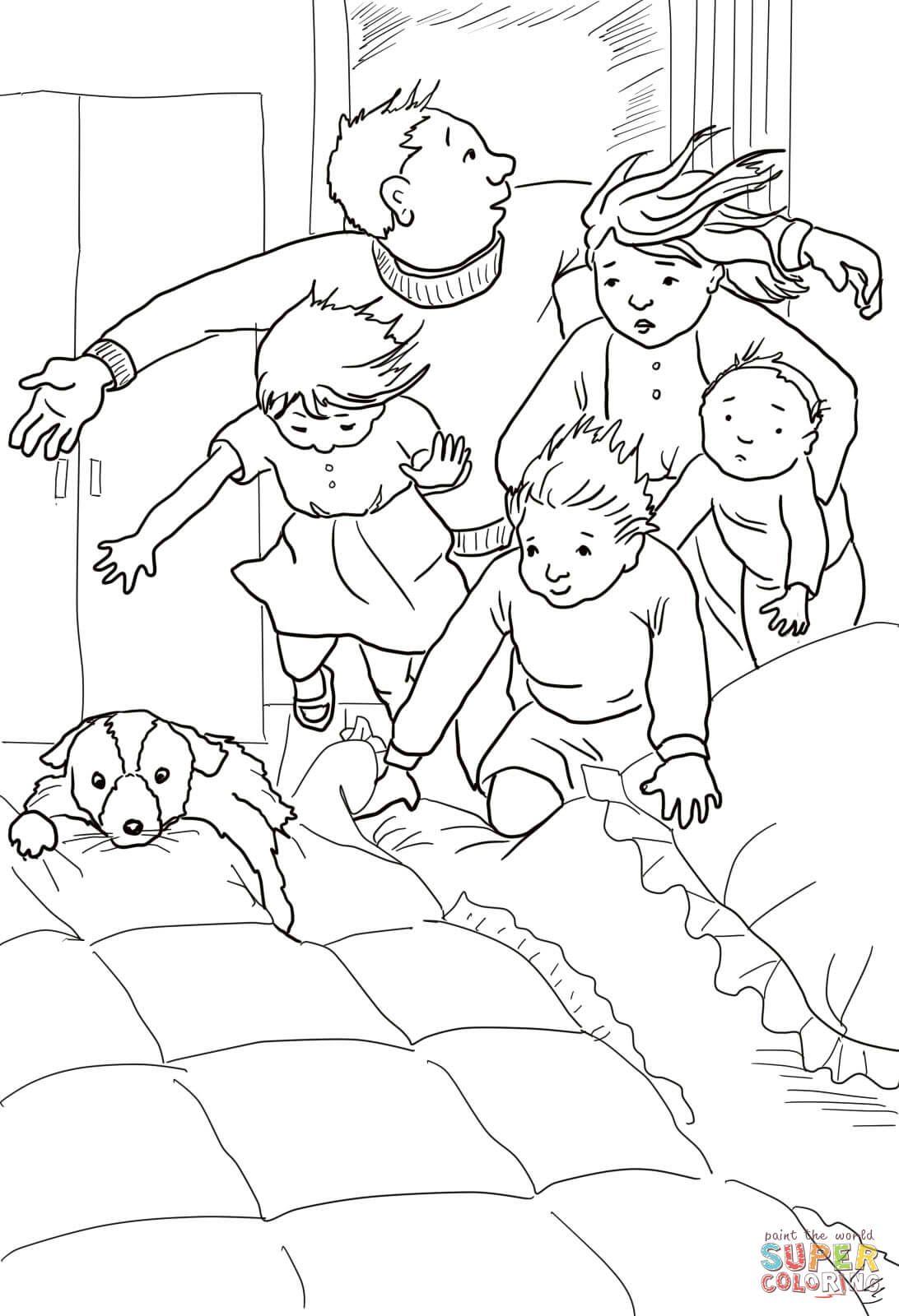 afbeelding wij gaan op berenjacht in bed zoeken