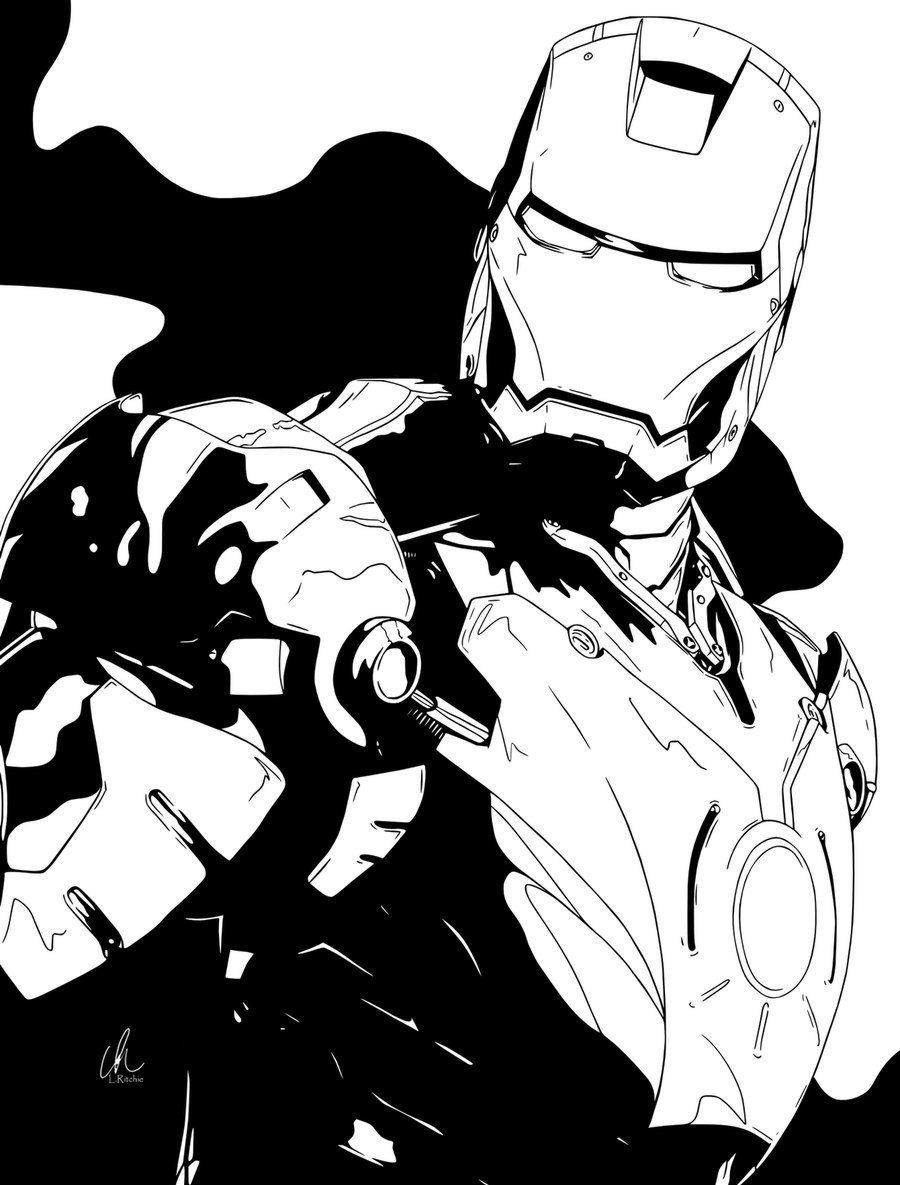 12++ Iron man clipart black and white info