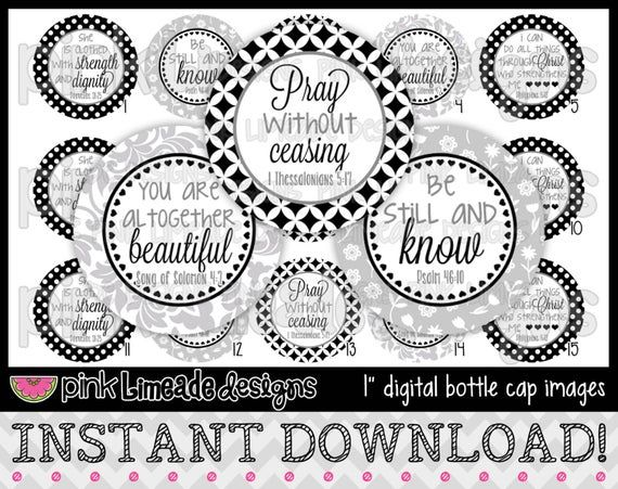 Be Still and Know 2 – INSTANT DOWNLOAD 1″ Bottle Cap Images 4×6 – 711