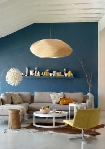 Like The Blue Feature Wall Colour With Grey Couch And Funky Lampshade Living Room Decor Grey Couch Blue Living Room Decor Gray Color Palette Living Room