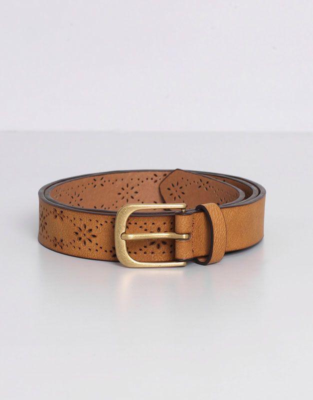 código promocional 62940 09b9b Pull&Bear - mujer - cinturones - cinturón troquelado flores ...