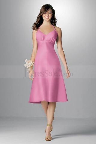 Sears Pink Halter Strapped Satin BM Dresses