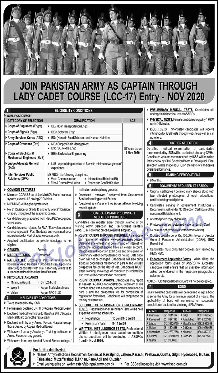 Join Pakistan Army As Captain Through Lady Cadet Course